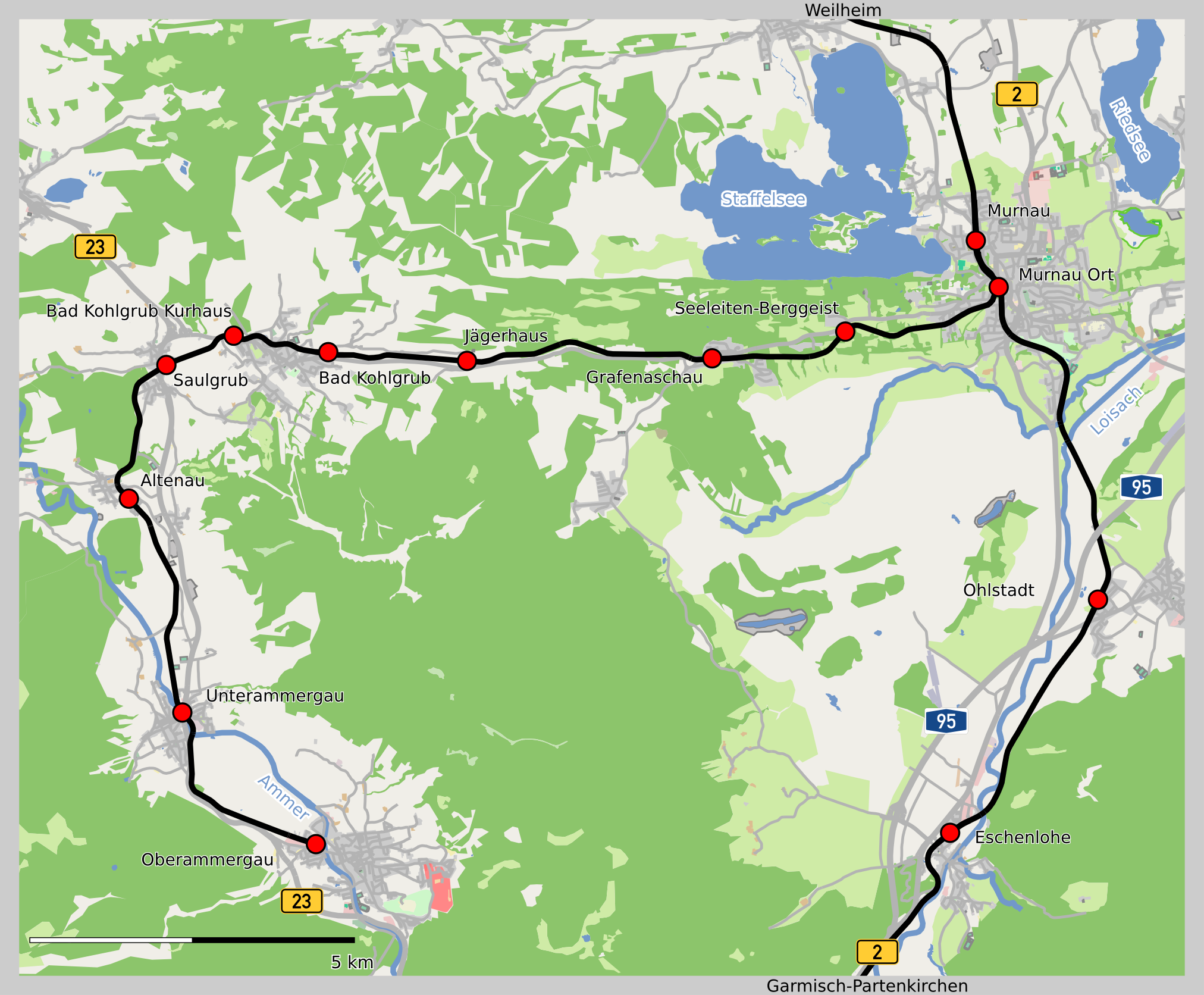 Murnau-Oberammergau-rata kartalla. Kuva: Vuxi OpenStreetMaps-datan pohjalta / Wikimedia Commons CC-BY-SA 2.0