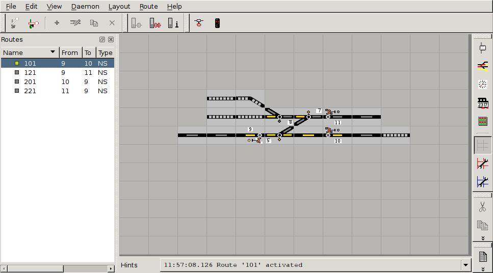 Koerata SpDrS60-asetinlaitesimulaattorissa. Ainoastaan yksi vaihde oli kytketty dekooderiin.